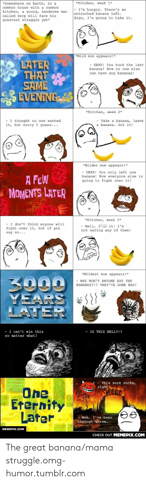 I Cant Win: *Somewhere on Earth, in a  *Kitchen, week 1*  common house with a common  - I'm hungry. There's an  kitchen, a young, handsome man  called Derp will face his  greatest struggle yet*  untouched banana left.  Ergo, I'm going to take it.  *wild mom appears!*  LATER  THAT  SAME  EVENING  - DERP! You took the last  banana! Now no one else  can have any bananas!  *Kitchen, week 2*  - I thought no one wanted  it, but sorry I guess...  Take a banana, leave  a banana. Got it!  *Wilder mom appears!*  - DERP! You only left one  banana! Now everyone else is  going to fight over it!  A FEW  L MOMENTS LATER  *Kitchen, week 3*  I don't think anyone will  fight over it, but if you  - Well, f it! I'm  not eating any of them!  say so...  *Wildest mom appears!*  3000  YEARS  LATER  - WHY WON'T ANYONE EAT THE  BANANAS?!? THEY'VE GONE BAD!  I can't win this  no matter what!  - IS THIS  HELL?!?  This sure sucks,  right?  One  Eternity  Later  - Meh. I've been  through worse.  MEMEPIX.COM  CНЕCK OUT MЕМЕРIХ.COM The great banana/mama struggle.omg-humor.tumblr.com