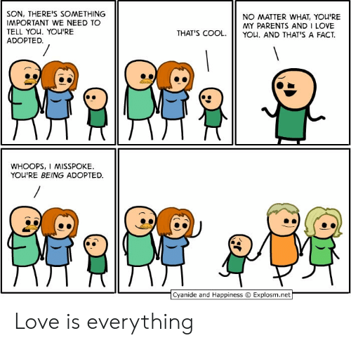 whoops: SON, THERE'S SOMETHING  IMPORTANT WE NEED TO  TELL YOU. YOU'RE  ADOPTED.  NO MATTER WHAT, YOU'RE  MY PARENTS AND I LOVE  YOu. AND THAT'S A FACT  THAT'S COOL.  WHOOPS, I MISSPOKE  YOU'RE BEING ADOPTED  Cyanide and Happiness  Explosm.net Love is everything