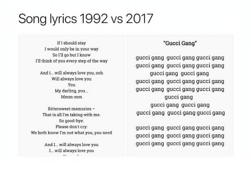 """Gucci, Love, and Gang: Song lyrics 1992 vs 2017  """"Gucci Gang""""  If I should stay  I would only be in your way  So I'll go but I know  I'll think of you every step of the way  gucci gang gucci gang gucci gang  gucci gang gucci gang gucci gang  gucci gang gucci gang  gucci gang gucci gang gucci gang  gucci gang gucci gang gucci gang  gucci gang  gucci gang gucci gang  gucci gang gucci gang gucci gang  And I. will always love you, ooh  Will always love you  You  My darling, you...  Mmm-mm  Bittersweet memories -  That is all I'm taking with me  So good-bye  Please don't cry:  We both know Im not what you, you need  gucci gang gucci gang gucci gang  qucci gang qucci gang qucci gang  gucci gang gucci gang guccl gang  And I.. will always love you  I. will always love you"""