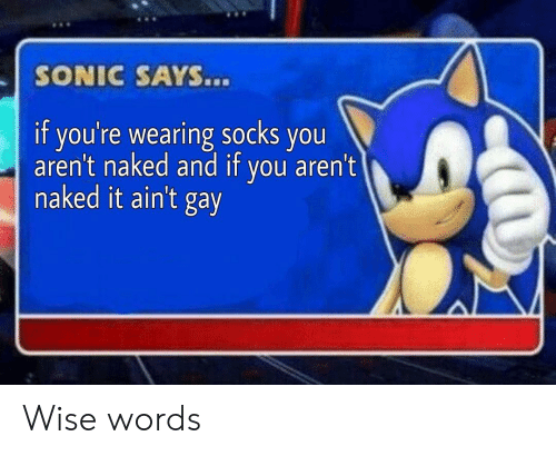 Naked It: SONIC SAYS...  if you're wearing socks you  aren't naked and if you aren't  naked it ain't gay Wise words