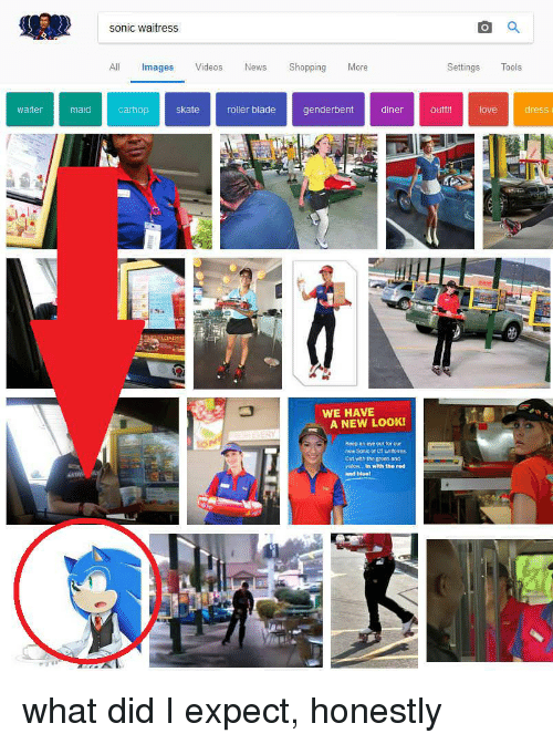 Blade, News, and Shopping: sonic waitress  All Images Videos News Shopping More  Settings Tools  waiter  maidcarhop skate roller blade genderbentdinert ove dress  WE HAVE  A NEW LOOK!  Koop  eye out for our  Out wth the green and  enow.. In with the red  and hluel what did I expect, honestly