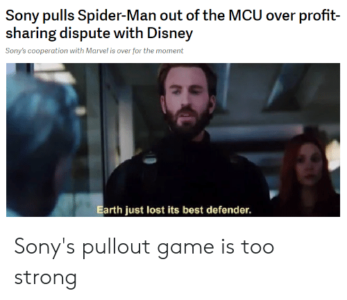 Pullout game: Sony pulls Spider-Man out of the MCU over profit-  sharing dispute with Disney  Sony's cooperation with Marvel is over for the moment  Earth just lost its best defender. Sony's pullout game is too strong