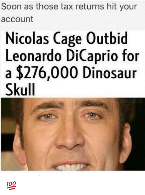 dinosaure: Soon as those tax returns hit your  account  Nicolas Cage Outbid  Leonardo DiCaprio f  a $276,000 Dinosaur  Skull  or 💯