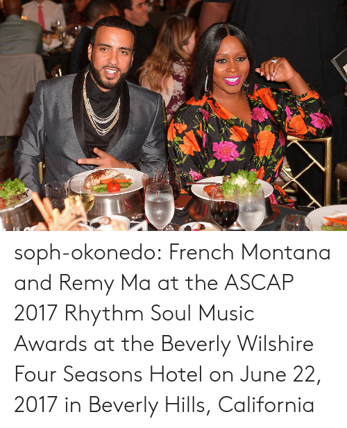 remy ma: soph-okonedo:    French Montana and Remy Ma at the ASCAP 2017 Rhythm  Soul Music Awards at the Beverly Wilshire Four Seasons Hotel on June 22, 2017 in Beverly Hills, California