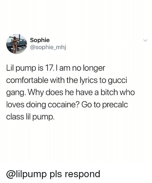 Bitch, Comfortable, and Gucci: Sophie  sophie_mhj  Lil pump is 17.I am no longer  comfortable with the lyrics to gucci  gang. Why does he have a bitch who  loves doing cocaine? Go to precalc  class lil pump @lilpump pls respond
