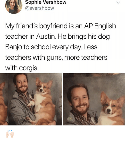 Friends, Guns, and Memes: Sophie Vershbow  @svershbow  My friend's boyfriend is an AP English  teacher in Austin. He brings his dog  Banjo to school every day. Less  teachers with guns, more teachers  with corgis. 🙌🏻