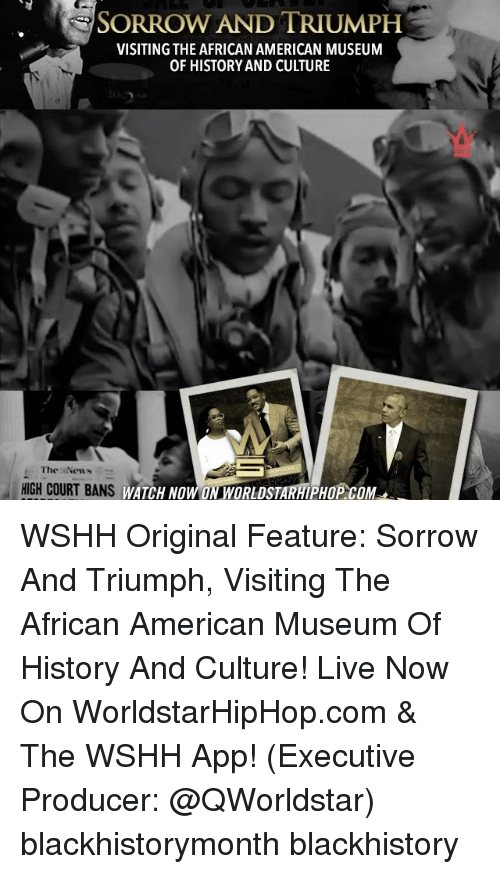 Memes, Worldstarhiphop, and 🤖: SORROW AND TRIUMPH  VISITING THE AFRICAN AMERICAN MUSEUM  OF HISTORY AND CULTURE  The New  HIGH COURT BANS  WATCH NOW ON WSHH Original Feature: Sorrow And Triumph, Visiting The African American Museum Of History And Culture! Live Now On WorldstarHipHop.com & The WSHH App! (Executive Producer: @QWorldstar) blackhistorymonth blackhistory