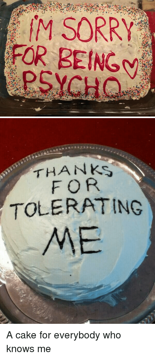 Cake Thanks For Tolerating Me