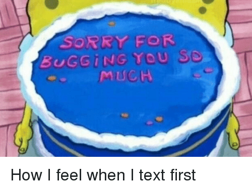 Text First: SORRY FOR  BUGGING YOU SO  MUCH How I feel when I text first