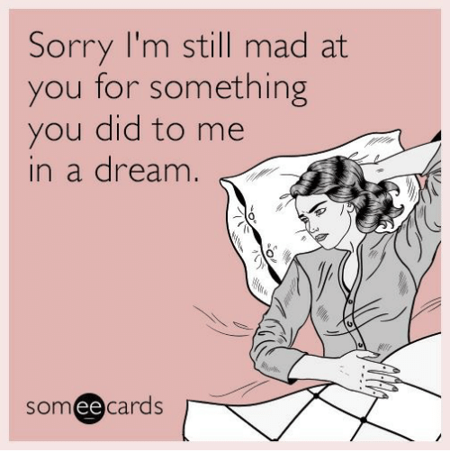 Still Mad At You: Sorry I'm still mad at  you for something  you did to me  in a dream.  0  someecards  ее