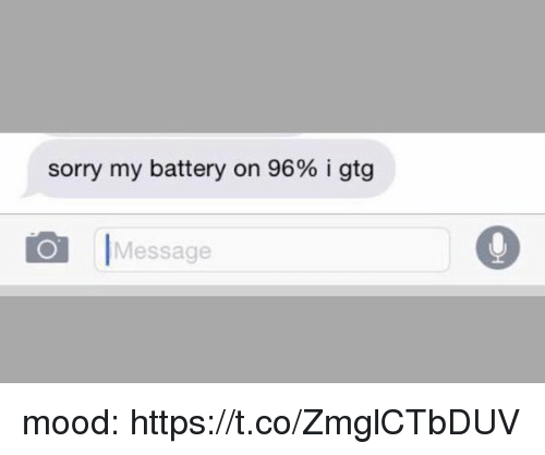Mood, Sorry, and Girl Memes: sorry my battery on 96% i gtg  O Message mood: https://t.co/ZmglCTbDUV