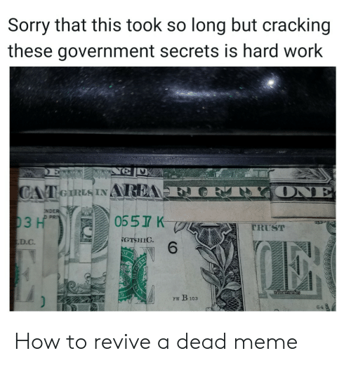 Revive: Sorry that this took so long but cracking  these government secrets is hard work  ONE  CAT eIRLS INAREA  NDER  D PRI  0557 K  03 H  TRUST  GTSHIC  6  D.C  iordsrufus  FW B103  64 How to revive a dead meme