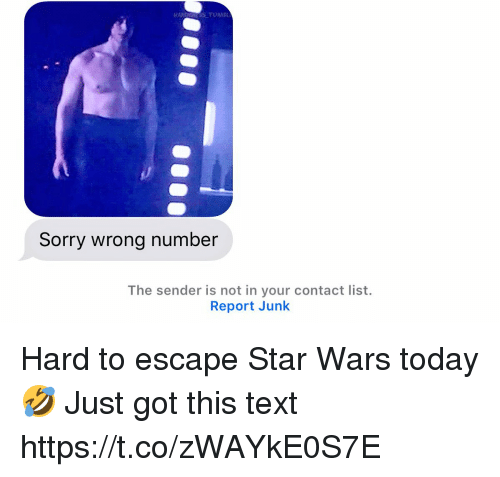 Memes, Sorry, and Star Wars: Sorry wrong number  The sender is not in your contact list.  Report Junk Hard to escape Star Wars today 🤣 Just got this text https://t.co/zWAYkE0S7E