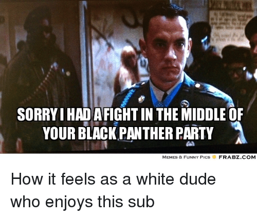 Blackpeopletwitter, Dude, and Funny: SORRYIHADAFIGHTIN THE MIDDLE OF  YOUR BLACK PANTHER PARTY  A  MEMES & FUNNY PICS  FRABZ.COM How it feels as a white dude who enjoys this sub
