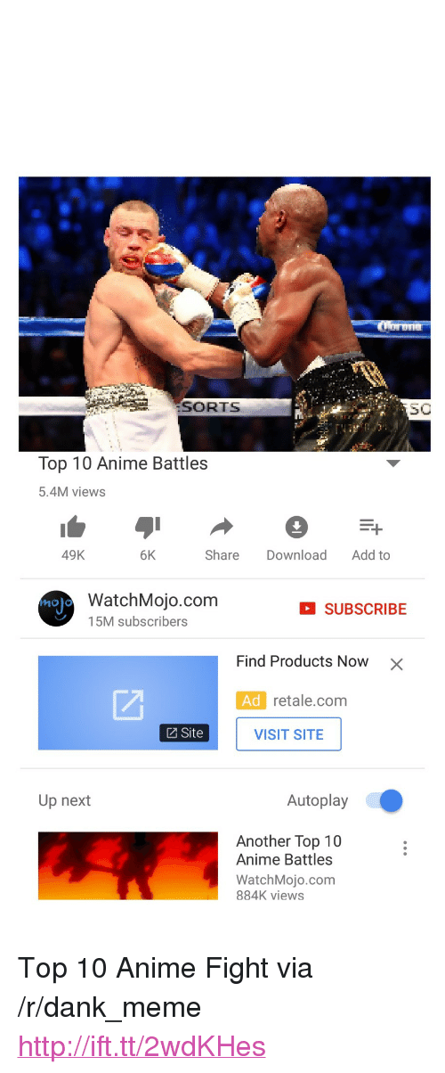 "Anime, Dank, and Meme: 'SORTS  S0  Top 10 Anime Battles  5.4M views  49K  6K  Share Download Add to  WatchMojo.com  15M subscribers  SUBSCRIBE  Find Products Now  ×  Ad retale.com  Site  VISIT SITE  Up next  Autoplay  Another Top 10  Anime Battles  WatchMojo.com  884K views <p>Top 10 Anime Fight via /r/dank_meme <a href=""http://ift.tt/2wdKHes"">http://ift.tt/2wdKHes</a></p>"