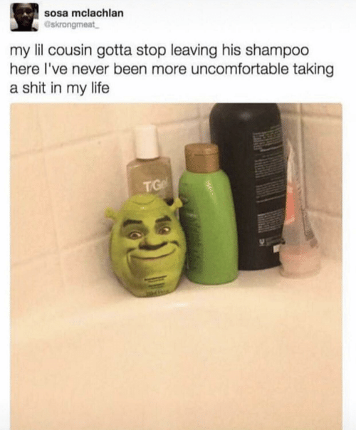 uncomfortable: sosa mclachlan  Gskrongmeat  my lil cousin gotta stop leaving his shampoo  here I've never been more uncomfortable taking  a shit in my life  TG