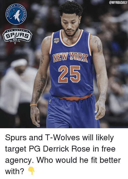 Derrick Rose, Target, and Free: SOTA  ANTONI  AN  SP Fs  NEWYORK  @MYNBADAILY Spurs and T-Wolves will likely target PG Derrick Rose in free agency. Who would he fit better with? 👇