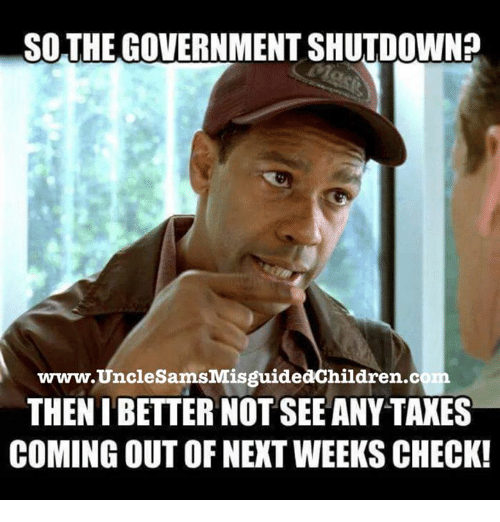 Government, Com, and Next: SOTHE GOVERNMENT SHUTDOWN?  www.UncleSamsMisguidedChildren.com  THEN IBETTER NOT SEEANY TAKES  COMING OUT OF NEXT WEEKS CHECK!