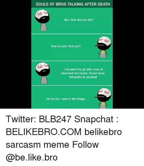 did you die: SOULS OF BROS TALKING AFTER DEATH  Bro, how did you die?  Due to cold. And you?  I doubted my gf with a boy &  searched my house, found none,  felt guilty & suicided  Ha Ha Ha. I was in the fridge. Twitter: BLB247 Snapchat : BELIKEBRO.COM belikebro sarcasm meme Follow @be.like.bro