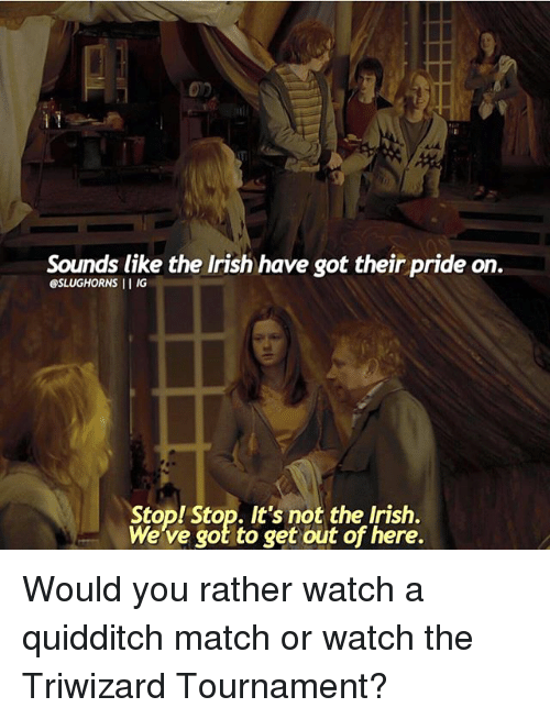Quidditch: Sounds like the Irish have got their pride on.  @SLUGHORNS  l IG  Stop! Stop. It's not the Irish.  We've got to get out of here. Would you rather watch a quidditch match or watch the Triwizard Tournament?