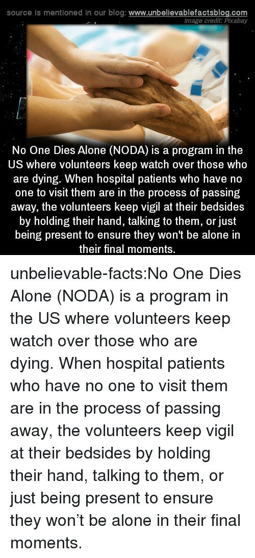vigil: source is mentioned in our blog: www.unbelievablefactsblog.co  lmage credit: Pixabay  No One Dies Alone (NODA) is a program in the  US where volunteers keep watch over those who  are dying. When hospital patients who have no  one to visit them are in the process of passing  away, the volunteers keep vigil at their bedsides  by holding their hand, talking to them, or just  being present to ensure they won't be alone in  their final moments. unbelievable-facts:No One Dies Alone (NODA) is a program in the US where volunteers keep watch over those who are dying. When hospital patients who have no one to visit them are in the process of passing away, the volunteers keep vigil at their bedsides by holding their hand, talking to them, or just being present to ensure they won't be alone in their final moments.