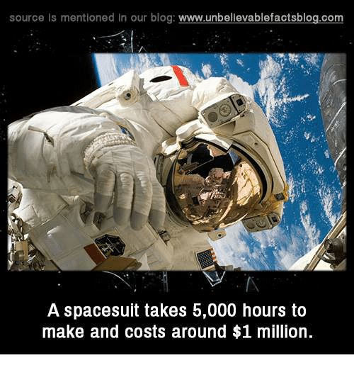Memes, Blog, and 🤖: source Is mentioned In our blog  www.unbelievablefactsblog.com  A spacesuit takes b,000 hours to  make and costs around $1 million.