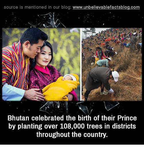 Bhutan: source Is mentioned In our blog  www.unbelievablefactsblog.com  Bhutan celebrated the birth of their Prince  by planting over 108,000 trees in districts  throughout the country.