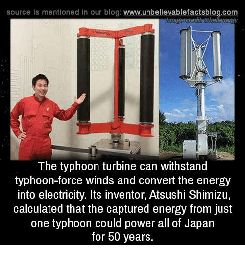 Withstanded: source Is mentioned In our blog  www.unbelievablefactsblog.com  challe  The typhoon turbine can withstand  typhoon-force winds and convert the energy  into electricity. Its inventor, Atsushi Shimizu,  calculated that the captured energy from just  one typhoon could power all of Japan  for 50 years.
