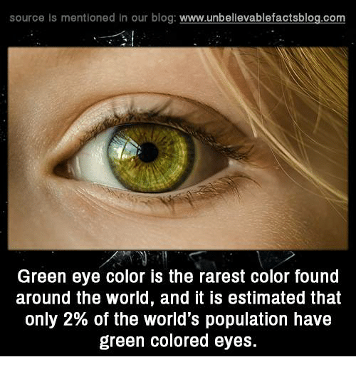 Memes, Blog, and World: source Is mentioned In our blog  www.unbelievablefactsblog.com  Green eye color is the rarest color found  around the world, and it is estimated that  only 2% of the world's population have  green colored eyes.
