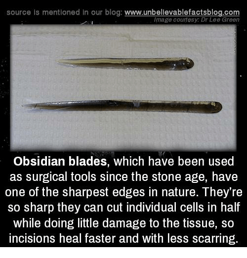 incisive: source is mentioned in our blog  www.unbelievablefactsblog.com  Image courtesy: Dr Lee Green  Obsidian blades, which have been used  as surgical tools since the stone age, have  one of the sharpest edges in nature. They're  So sharp they can cut individual cells in half  while doing little damage to the tissue, so  incisions heal faster and with less scarring.