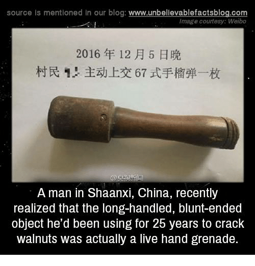 Blunts, Memes, and Blog: source Is mentioned In our blog  www.unbelievablefactsblog.com  Image courtesy: Weibo  2016 12 H 5 H  A man in Shaanxi, China, recently  realized that the long-handled, blunt-ended  object he'd been using for 2b years to crack  walnuts was actually a live hand grenade.