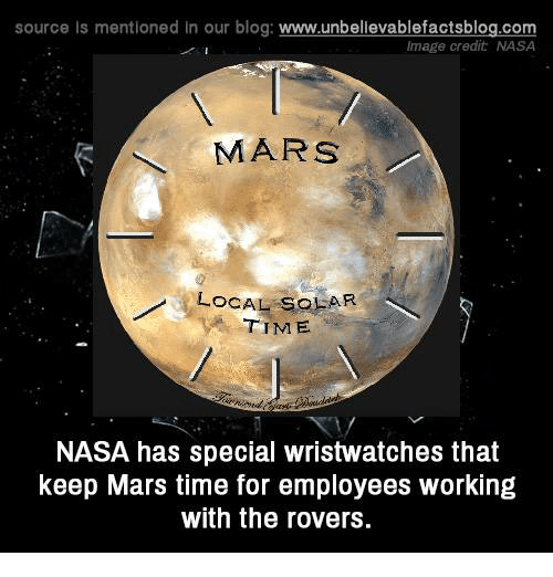 Memes, Nasa, and Blog: source Is mentioned In our blog  www.unbelievablefactsblog.com  Image credit NASA  MARS  LOCAL SOLAR  y TIME  NASA has special wristwatches that  keep Mars time for employees working  with the rovers.