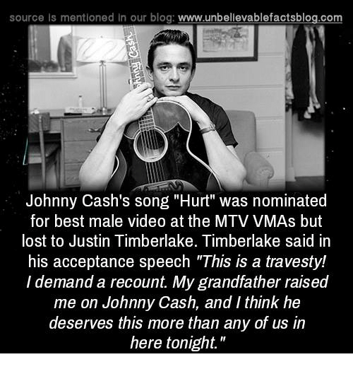 "acceptance speech: source Is mentioned In our blog  www.unbelievablefactsblog.com  Johnny Cash's song ""Hurt"" was nominated  for best male video at the MTV VMAs but  lost to Justin Timberlake. Timberlake said in  his acceptance speech ""This is a travesty!  l demand a recount. My grandfather raised  me on Johnny Cash, and Ithink he  deserves this more than any of us in  here tonight."""