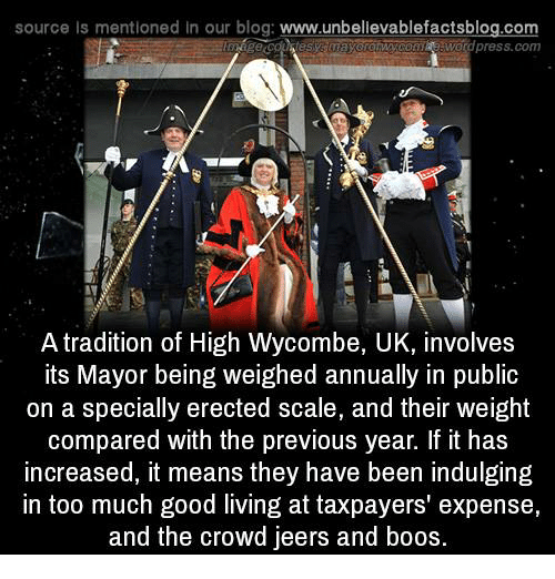 indulgent: source Is mentioned in our blog  www.unbelievablefactsblog.com  press.com  A tradition of High Wycombe, UK, involves  its Mayor being weighed annually in public  on a specially erected scale, and their weight  compared with the previous year. If it has  increased, it means they have been indulging  in too much good living at taxpayers' expense,  and the crowd jeers and boos.