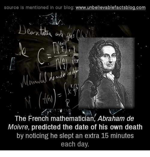 Memes, Abraham, and Blog: source is mentioned in our blog  www.unbelievablefactsblog.com  The French mathematician, Abraham de  Moivre, predicted the date of his own death  by noticing he slept an extra 16 minutes  each day.
