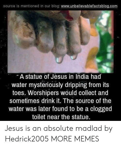 dripping: source is mentioned in our blog: www.unbellevablefactsblog.co  A statue of Jesus in India had  water mysteriously dripping from its  toes. Worshipers would collect and  sometimes drink it. The source of the  water was later found to be a clogged  toilet near the statue Jesus is an absolute madlad by Hedrick2005 MORE MEMES
