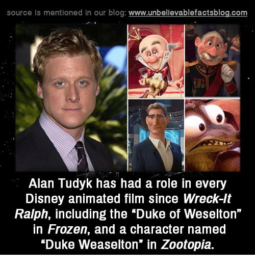 """Frozenness: source Is mentioned in our blog: www.unbellevablefactsblog.co  Alan Tudyk has had a role in every  Disney animated film since Wreck-lt  Ralph, including the """"Duke of Weselton""""  in Frozen, and a character named  """"Duke Weaselton"""" in Zootopia."""