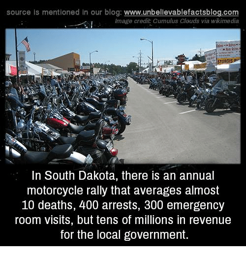 Memes, Blog, and Image: source Is mentioned in our blog: www.unbellevablefactsblog.co  Image credit Cumulus Clouds via wikime dia  In South Dakota, there is an annual  motorcycle rally that averages almost  10 deaths, 400 arrests, 300 emergency  room visits, but tens of millions in revenue  for the local government.