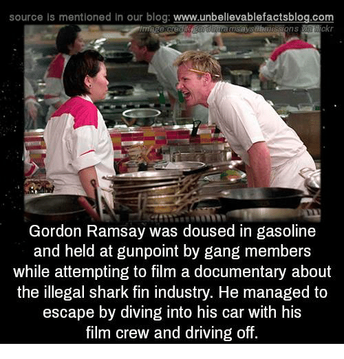 Off: source Is mentioned in our blog: www.unbellevablefactsblog.co  usaysubuussions  Gordon Ramsay was doused in gasoline  and held at gunpoint by gang members  while attempting to film a documentary about  the illegal shark fin industry. He managed to  escape by diving into his car with his  film crew and driving off.