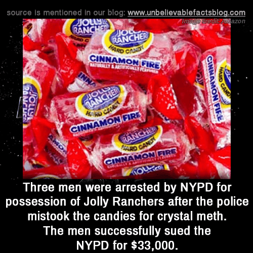Jio: source is mentioned in our blog: www.unbellevablefactsblog.com  edit Anazon  AN  JIO  RANCHER  CINNAMON GIRE  0  NNAMON FIRE  INNAMON FIRE  Three men were arrested by NYPD for  possession of Jolly Ranchers after the police  mistook the candies for crystal meth  The men successfully sued the  NYPD for $33,000