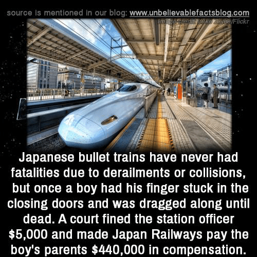 Dragged: source Is mentioned in our blog: www.unbellevablefactsblog.com  /Flickr  Japanese bullet trains have never had  fatalities due to derailments or collisions,  but once a boy had his finger stuck in the  closing doors and was dragged along until  dead. A court fined the station officer  $5,000 and made Japan Railways pay the  boy's parents $440,000 in compensation.