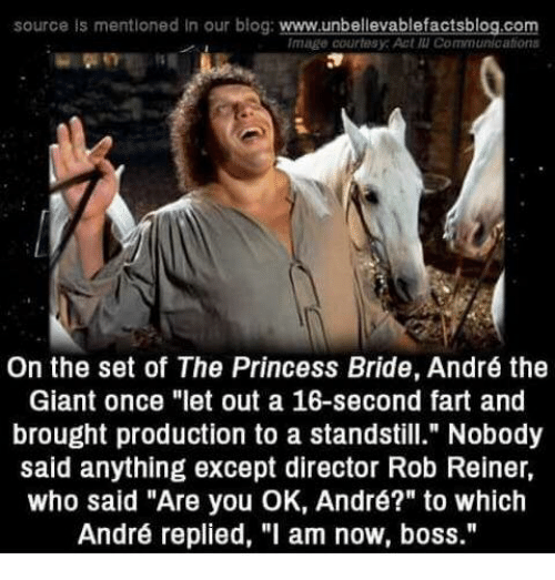 "André the Giant, Memes, and Blog: source is mentioned In our blog: www.unbellevablefactsblog.com  Image courtesy: Act แเ Communications  On the set of The Princess Bride, André the  Giant once ""let out a 16-second fart and  brought production to a standstill."" Nobody  said anything except director Rob Reiner,  who said ""Are you OK, André?"" to which  André replied, ""l am now, boss."""