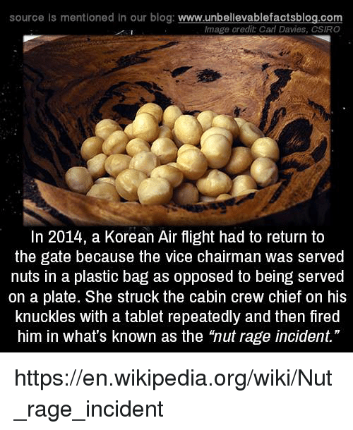 """plated: source Is mentioned in our blog: www.unbellevablefactsblog.com  Image credit Cal Davies, CSIRO  In 2014, a Korean Air flight had to return to  the gate because the vice chairman was served  nuts in a plastic bag as opposed to being served  on a plate. She struck the cabin crew chief on his  knuckles with a tablet repeatedly and then fired  him in what's known as the 'nut rage incident."""" https://en.wikipedia.org/wiki/Nut_rage_incident"""