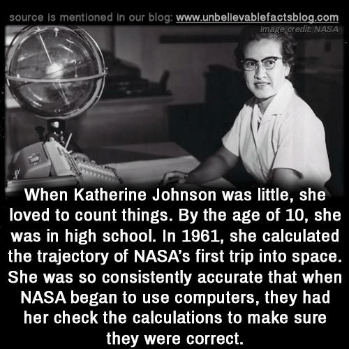 katherine: source is mentioned in our blog: www.unbellevablefactsblog.com  Image credit NASA  When Katherine Johnson was little, she  loved to count things. By the age of 10, she  was in high school. In 1961, she calculated  the trajectory of NASA's first trip into space.  She was so consistently accurate that when  NASA began to use computers, they had  her check the calculations to make sure  they were correct.