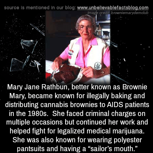 "Mary Jane: source is mentioned in our blog: www.unbellevablefactsblog.com  lmage credit browniemarydemclub  Mary Jane Rathbun, better known as Brownie  Mary, became known for illegally baking and  distributing cannabis brownies to AIDS patients  in the 1980s. She faced criminal charges on  multiple occasions but continued her work and  helped fight for legalized medical marijuana.  She was also known for wearing polyester  pantsuits and having a ""sailor's mouth  ."""