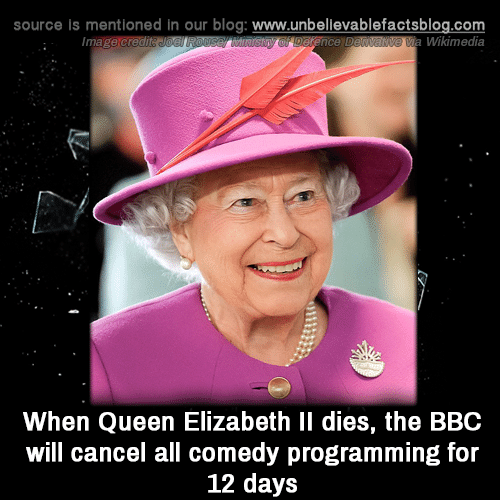 Queen Elizabeth: source is mentioned in our blog: www.unbellevablefactsblog.com  Wikimedia  When Queen Elizabeth Il dies, the BBC  will cancel all comedy programming for  12 days