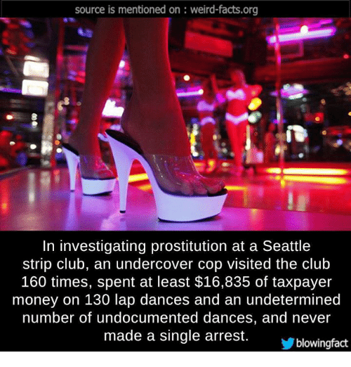 memes: source is mentioned on weird-facts.org  In investigating prostitution at a Seattle  strip club, an undercover Cop Visited the Club  160 times, spent at least $16,835 of taxpayer  money on 130 lap dances and an undetermined  number of undocumented dances, and never  made a single arrest.  Yblowingfact