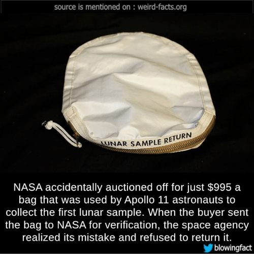 Source Is Mentioned on Weird-Factsorg STENAR SAMPLE RETURN NASA ...