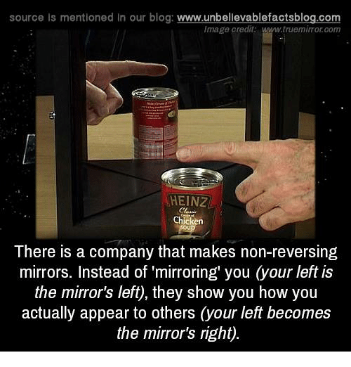 Memes, Blog, and Chicken: source ls mentioned in our blog  www.unbelievablefactsblog.com  Image credit.  www.truemimor com  HEINZ  Chicken  There is a company that makes non-reversing  mirrors. Instead of mirroring' you Cyour left is  the mirror's left, they show you how you  actually appear to others (your left becomes  the mirror's right).