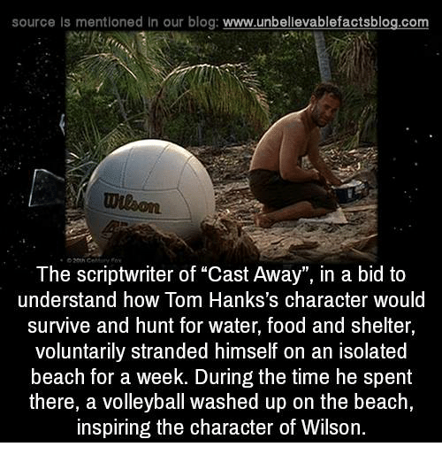 """Cast Away: source ls mentioned In our blog  www.unbelievablefactsblog.com  The scriptwriter of """"Cast Away"""", in a bid to  understand how Tom Hanks's character would  survive and hunt for water, food and shelter,  voluntarily stranded himself on an isolated  beach for a week. During the time he spent  there, a volleyball washed up on the beach,  inspiring the character of Wilson."""